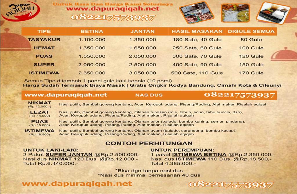 Daftar harga paket aqiqah terlengkap di aqiqah Cimahi Murah